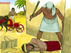 He saw and Egyptian beating a Hebrew, one of his own people.