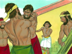 On the next day he went again to be with his people and saw two of them fighting.